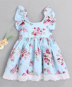 Kookie Kids Short Ruffled Sleeves Frock Floral Print - Light Blue
